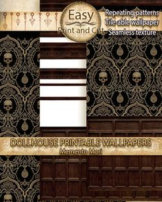 Haunted Dollhouse, Dollhouse Miniatures, Diy Christmas Shadow Box, Seamless Textures, Simple Prints, Book Nooks, Memento Mori, Repeating Patterns, Print And Cut