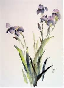 Watercolor painting of irises in a vase - Bing Images