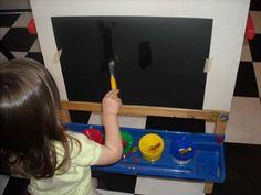 Resultado de imagen de toddler painting on black paper
