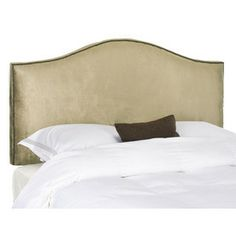 Safavieh Mercer Champagne Queen Linen Upholstered Headboard