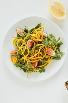 Fig and Golden Beet Arugula Salad with Sunflower Seeds by  @Inspiralized