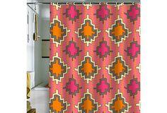 Turner Kilim Shower Curtain, Tangerine on OneKingsLane.com