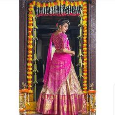 Saree Blouse, Sari, Banarasi Lehenga, South India, Half Saree, Wedding Images, Saree Wedding, Bridal Make Up, Indian Bridal