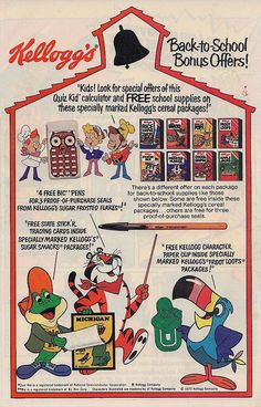 Kelloggs Cereal Back to School Premiums, 1979
