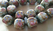 Vintage Venetian Murano Roses Aventurine Glass Bead Fancy Necklace 105g 23 beads