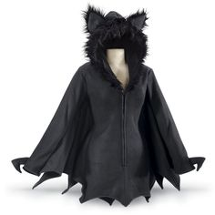 """You're Queen of the cavern! Flutter forth in this fabulous fleece jacket, with its spreadable, bat-wing sleeves and adorable, furry-earred hood. Three-quarter front zipper. 100% polyester. Hand washable. Imported. Color: Black. Sizes: S (4–6), M (8–10), L (12–14), XL (16); 35""""–37"""" long."""