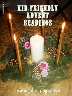 Kid-Friendly Advent Readings for weekly Advent with candles. Kid-Friendly Advent Readings for weekly Advent with candles. Kids Advent Wreath, Advent Wreath Prayers, Advent For Kids, 1 Advent, Advent Ideas, Advent Scripture, Christmas Scripture, Advent Activities, Christmas Activities