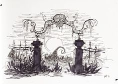 Cemetery gates. Tattoo idea. Nightmare Before Christmas.