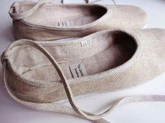 Linen ballet flats.    http://www.etsy.com/listing/57160736/eco-chic-handmade-vegan-ballerina-flats