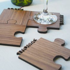 Set Of Four Personalised Cut Out Wooden Jigsaw Coasters