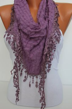 Lilac Shawl and Scarf  Headband  Cowl with Lace Edge by DIDUCI, $15.90