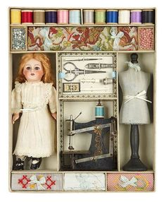 d452b717dc9 Lot: All-Original French Child's Sewing Presentation Box with Bleuette-Type  Bisque Doll