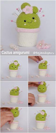 Cactus amigurumi (crochet): es un alfiletero y, también, sirve para guardar botones, ganchitos, etc.  Instrucciones completas!