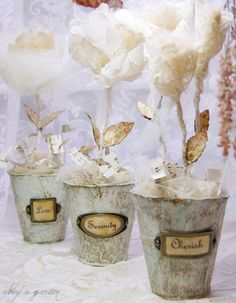Altered Peat Pots with Organza/Tulle/Paper Roses
