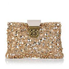 #Chloe Elsie crystal-embellished #cream #leather #clutch