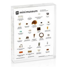 Mini Museum - First Edition (TOUCH - 35 Specimens) Mini Museum Second Edition (Acrylic) Fulgurite, Star Sand, Dragon Moon, Desert Glass, Hand Axe, Pieces Of Eight, Asteroid Belt, Bronze Age, The Martian
