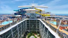 Harmony of the Seas The ship also has the largest water slide giving the opportunity to the passengers to take the plunge in the the longest tunnel slide at sea which drops a 10 stories at 9 miles/hr.