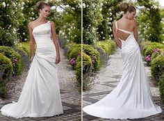 One shouldered with a really cool back, this Essense of Australia D1104 wedding dress would be great for a destination wedding.