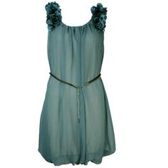 M-Butterfly Flower Shoulder Plain Dress With Free Belt - Dark Green - DRESSES | women's clothes | womens fashion