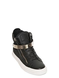 GIUSEPPE ZANOTTI HOMME  DOUBLE ZIPPED LEATHER HIGH TOP SNEAKERS