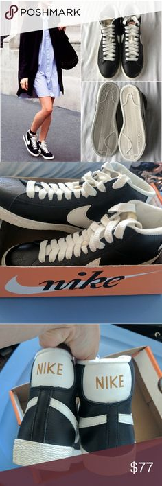 Nike leather blazer sneakers Size 7! True to size! I had purchased it from a posher originally, unfortunately I'm a true size 6.5, and they didn't fit. I never worn them. They're still in the box I got them sent. NO TRADES NO PAYPAL! Im selling it at the price I paid for them Nike Shoes Sneakers