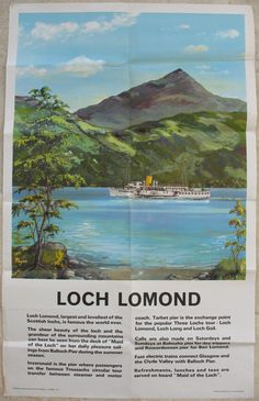 """Loch Lomond, by P Payne. A lovely summer view of the """"Maid of The Loch"""" on a pleasure sailing on Loch Lomond, with Ben Lomond in the background. Original Vintage Railway Poster available on originalrailwayposters.co.uk"""