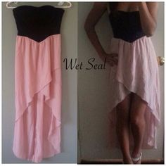 NWT { WET SEAL } The Sweetheart Dress in Pink  - S Cute contrasting color asymmetrical dress! Wear this black and pink dress for a night out with your girls or to a date. This dress is sure to make you look gorgeous no matter what you pair it with.   Condition: New.. Size: Small  No swaps!..<> No returns!... Wet Seal Dresses