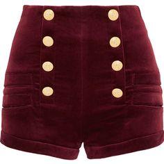 Pierre Balmain Velvet shorts ($665) ❤ liked on Polyvore featuring shorts, burgundy, high-rise shorts, pierre balmain, slim shorts, loose high waisted shorts and burgundy shorts