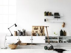Home Decoration. Wondrous Neutral Scandinavian Interior Design Showcasing Low Wooden Polished Closet With Scluptural Vintage Ornament Ideas. Ravishing Home Interior In Scandinavian Design Ideas Decor, Furniture, Interior, Home, Modular Shelving, House Interior, Interior Design, Scandinavian Interior, Home And Living