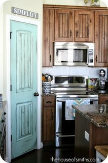 Turquoise pantry door