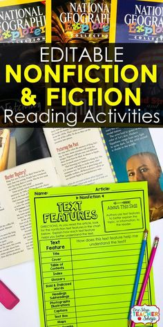Fiction and Nonfiction Reading Activities for the whole year! Perfect for Reading Centers & Guided Reading. Pair these Fiction and Nonfiction Reading Graphic Organizers with ANY text for a No-Prep Reading Activity.   4th Grade Reading   5th Grade Reading   6th Grade Reading   Reading Strategies   Guided Reading Ideas   Main Idea & Supporting Details   Text Structure   Making Inferences   Context Clues   Theme   Compare & Contrast   Cause & Effect   Nonfiction Text Features