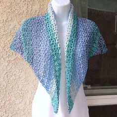 Crocheted from a soft, mid-weight acrylic yarn in cool seaside shades of blues and greens. The delicate shading and intriguing blend of colors into each Light Scarves, Capelet, Color Stripes, Sea Foam, Shades Of Blue, Handicraft, Shadows, How To Make, How To Wear