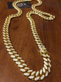 "Custom Made 15MM. XL .925/999/18K Yellow Gold Filled"" over Fine .925/999 S.Silver Miami Cuban Link Chain."