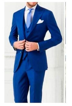 Royal Blue Novio padrino boda trajes de etiqueta Hecho a Medida 3 piezas para hombre formales trajes
