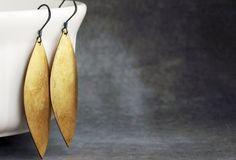 Vintage Brass Leaf Earrings on Oxidized Sterling Silver by etco, $22.00