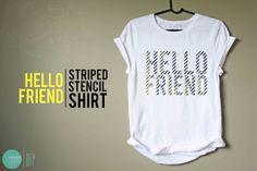 DIY bicolor rayada Shirt@mintedstrawberry.blogspot.com Stencil