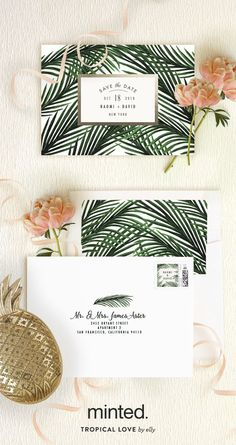 Find a tropical love inspired by Minted artist Elly stationery designs. Perfect for your destination wedding. Tropical Love wedding save the date, wedding invitation and reception decor on http://Minted.com.