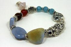 Periwinkle Chalcedony Chunky Charm Bracelet, Silver Charms, rhinestone