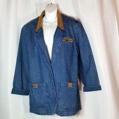 Jantzen Denim Jean Jacket Womens M / M Blue Western Barn Coat #Jantzen #DenimJacket #Casual