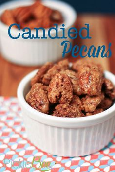 Candied Pecans - delicious, and addictive - these pecans are great to have on hand for snacking, toppings for ice cream, sweet potatoes and salads!