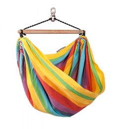 Don't forget the kids and grandkids, ships FREE, too! Made In The Shade Hammocks - Children Hammock Chair Iri Model (Rainbow Color), $75.95 (http://www.madeintheshadehammocks.com/children-hammock-chair-iri-model-rainbow-color/) #kidsoutdoorhammockchairs