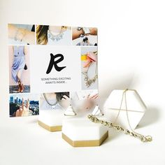 "We've got @rocksbox on our mind! We found another great use for our #placecardholder- it's now a #jewelry display! I don't mind ""frosting"" all of my holders with pretty jewelry! #esselle #display #rocksbox"