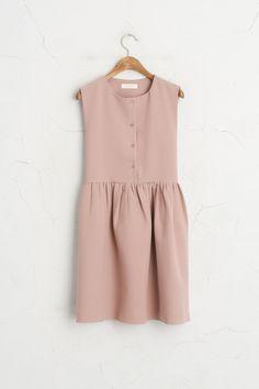 Button Down Sleeveless Dress, Pink, 60% Polyester, 37% Viscose, 3% Elastane