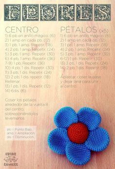 Five petal flower in amigurumi Patron Crochet, Knit Or Crochet, Crochet Motif, Crochet Stitches, Crochet Baby, Crochet Flower Patterns, Crochet Patterns Amigurumi, Crochet Dolls, Crochet Flowers