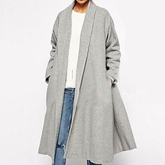 Women's+Plus+Size+Coat,Solid+Shirt+Collar+Long+Sleeve+Winter+Gray+Wool+Opaque+–+CAD+$+26.40