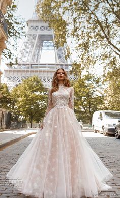 victoria soprano 2019 bridal long sleeves high neck heavily embellished bodice elegant princess a  line wedding dress open low back chapel train (12) mv -- Victoria Soprano 2019 Wedding Dresses | Wedding Inspirasi #wedding #weddings #bridal #weddingdress #bride ~