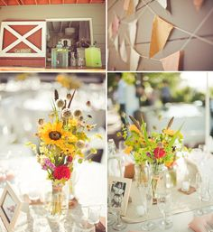 simple summer flowers - i know you want hydrangeas but we could do this for the rehearsal dinner