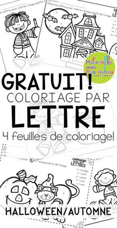 4 FREE French Fall/Halloween colour by letter worksheets - help your students practice discriminating between visually similar letters! Theme Halloween, Halloween Math, Halloween Activities, Fall Halloween, Halloween Vocabulary, Halloween Worksheets, French Worksheets, Letter Worksheets, French Alphabet