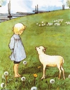 green field, dandelions & lamb | elsa beskow