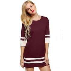 Casual Short Solid 3/4 Sleeve Dress